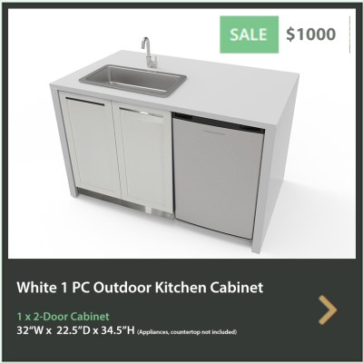 1000 4 Life Outdoor White Stainless Steel Outdoor Kitchen 2-Door Cabinet
