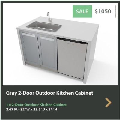 1050 4 Life Outdoor Gray Stainless Steel Outdoor Kitchen 2-Door Cabinet