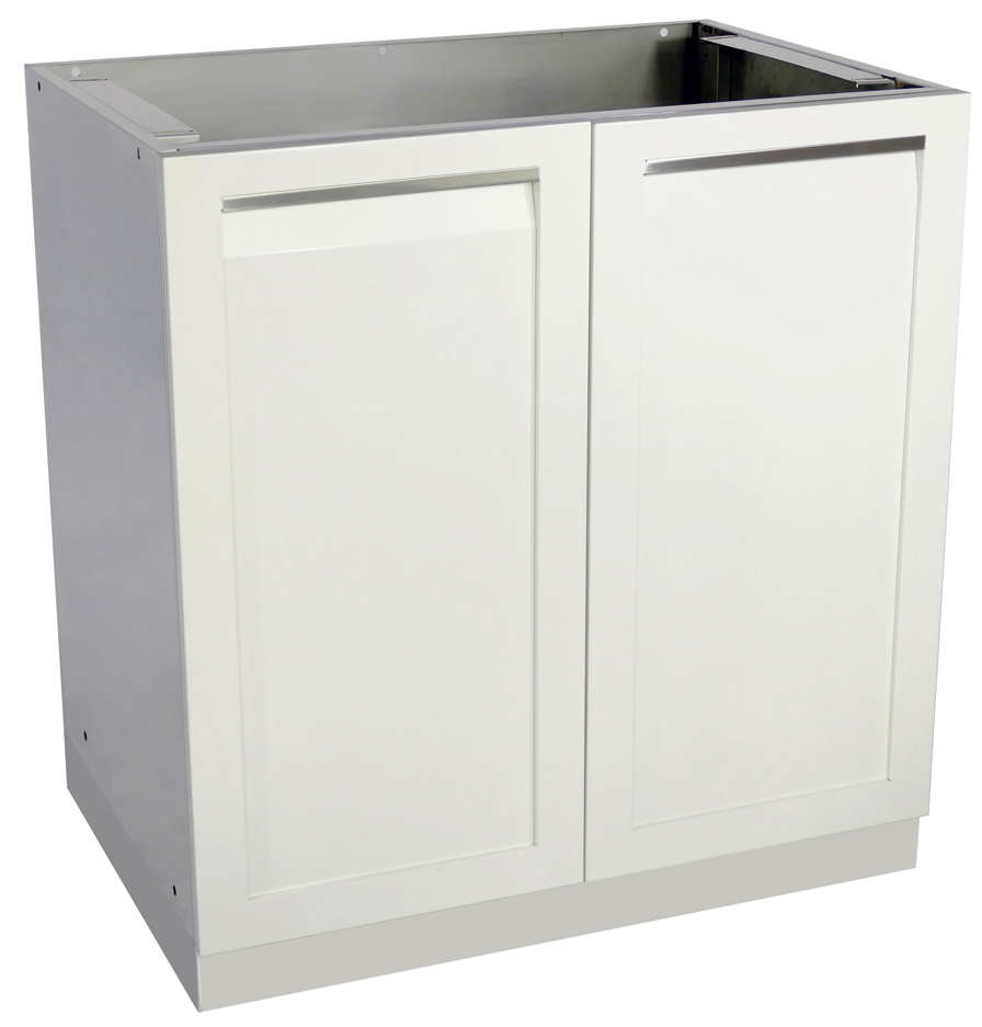 4 Life Outdoor White Stainless Steel 2 Door Cabinet