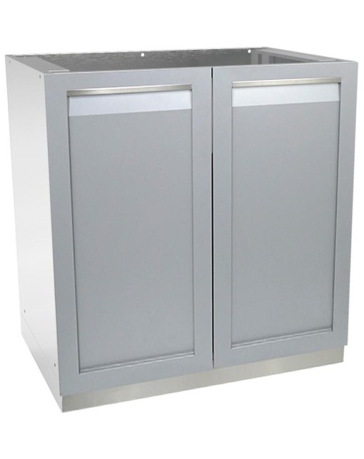"Gray 4 PC Outdoor Kitchen: 1 x BBQ Grill Cabinet, 2 x 2-Door Cabinet, 1x88"" Stainless Countertop 10"