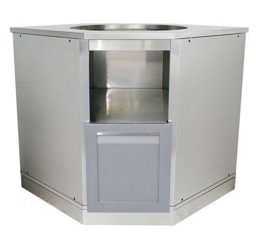 Gray Kamado Grill Cabinet - Stainless steel with countertop for large Green egg