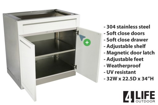 White 8 PC Outdoor Kitchen: 2 x 2-door Cabinet, 1x Drawer +2-door Cabinet, 1x 3 Drawer Cabinet 1xBBQ Cabinet, 1 x Corner Kamado Cabinet, 2 x side panels 11