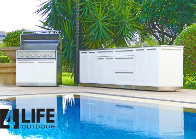 White set by pool with side panel 1500