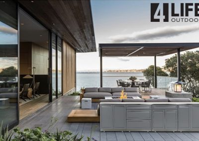 Gray set on patio deck waterfront with logo2