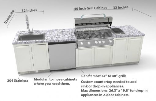 White 2-Door Stainless Steel Outdoor Kitchen Cabinet - W40051 6