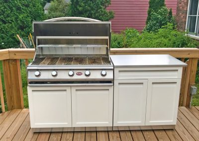 CAL FLAME WITH 4 LIFE OUTDOOR CABINETS OPEN