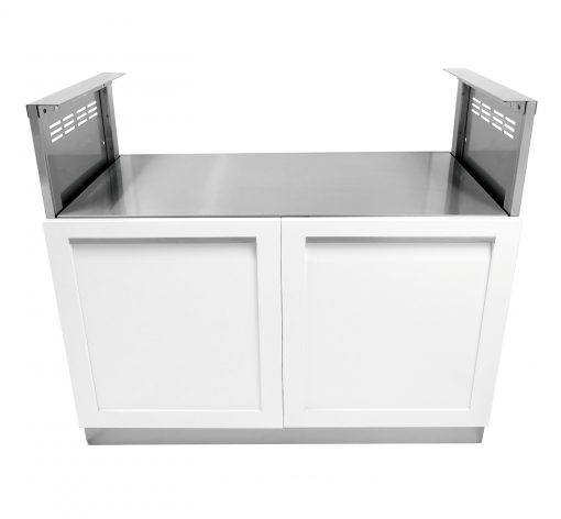White 5 PC Dual Grill Outdoor Kitchen: BBQ Cabinet, Kamado Corner Cabinet, 3 Drawer Cabinet, Drawer + 2-door Cabinet, Side Panel 27
