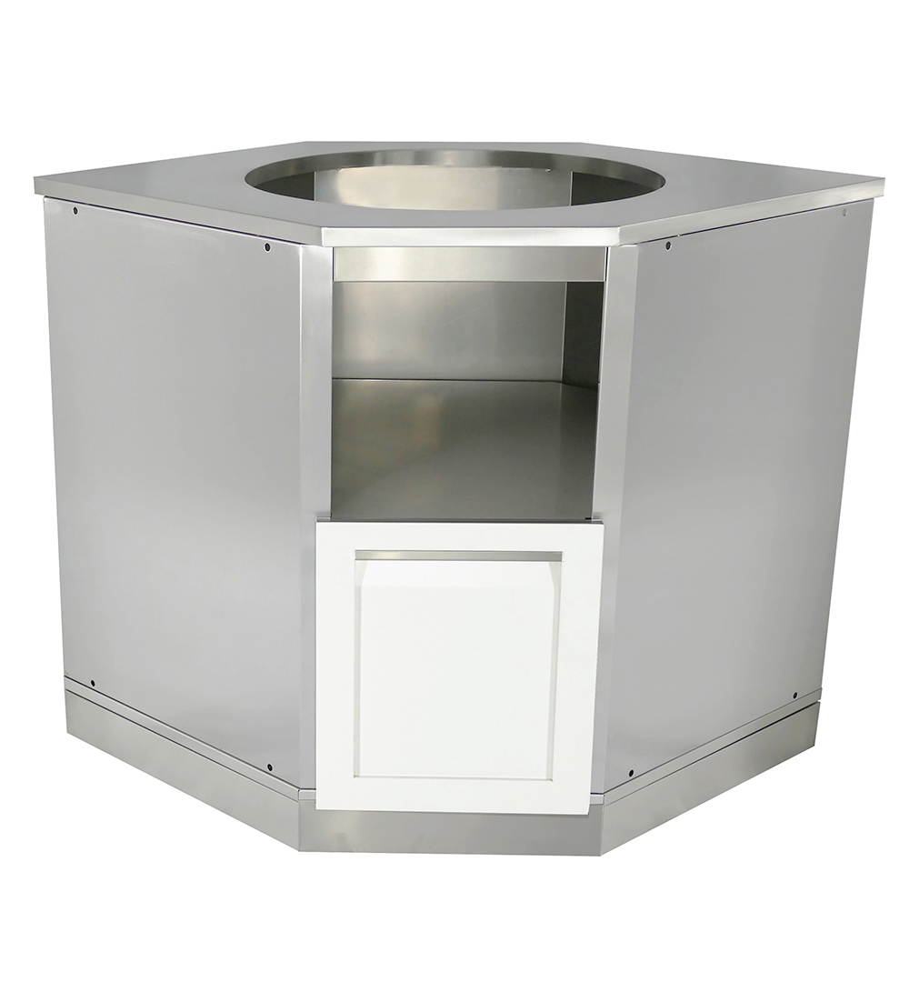 W4006 - White Stainless steel Kamado corner cabinet