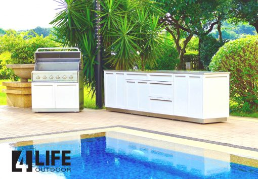 2 PC - Stainless Steel Outdoor Kitchen Decorative Side Panel in White 4