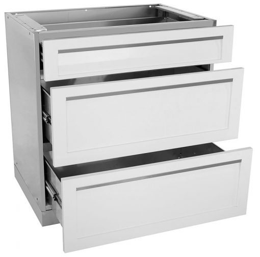 3 drawer stainless steel cabinet in white drawers open
