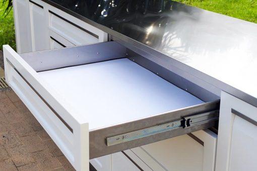 White 2 PC Outdoor Kitchen: BBQ Cabinet, Drawer+2-door Cabinet Outdoor Kitchen 10