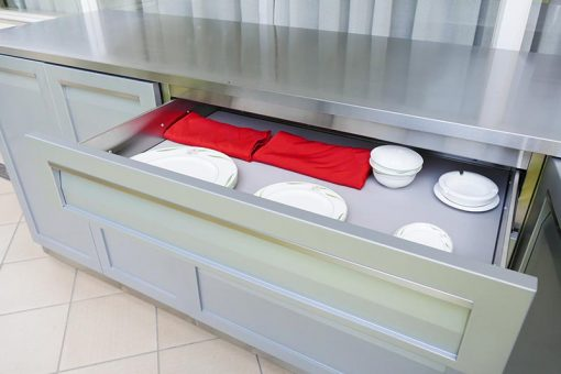 Stainless steel cabinets with drawer open stainless countertop