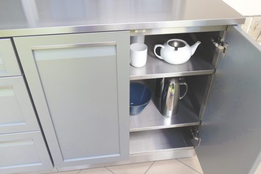 Two door outdoor kitchen cabinet stainless steel gray powder coat