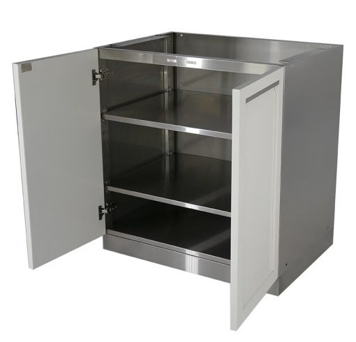 white 2 door stainless steel cabinet open doors two adjustable shelves