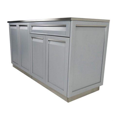 Gray 3 PC Outdoor Kitchen: Drawer + 2-door Cabinet, Corner Back panel, 34 top 12