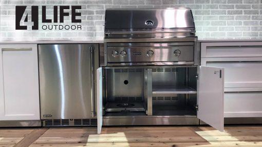 White 2 PC Outdoor Kitchen: BBQ Cabinet, Drawer+2-door Cabinet Outdoor Kitchen 13