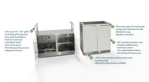White 3 PC Outdoor Kitchen Set: BBQ Grill Cabinet, 2-door Cabinet & Stainless Countertop 9