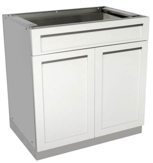 "White 7 PC: 2 Door Cabinet, 3 Drawer Cabinet, Drawer+2-door, 98"" Stainless Countertop 20"