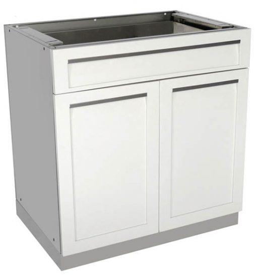 "White 7 PC Outdoor Kitchen Set: 2 Door Cabinet, 3 Drawer Cabinet, Drawer+2-door, 98"" Stainless Countertop 13"