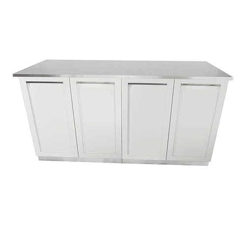 White 3 PC 2-door cabinets + stainless steel countertop 8