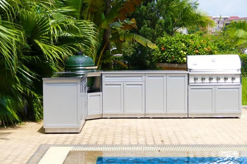 Gray Kamado Grill Stainless Steel Outdoor Kitchen Cabinet - G40006 11