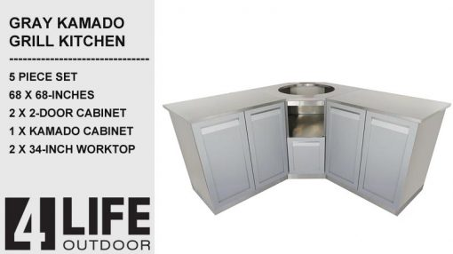 "Gray 5 PC: 2x2 Door Cabinet, Kamado, 2x34""Stainless Countertops 6"