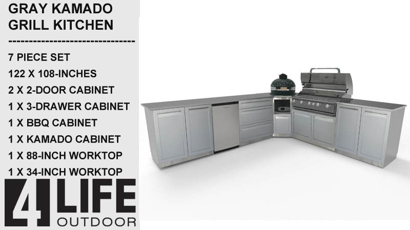 Gray 6 PC Dual Grill Outdoor Kitchen: BBQ Grill Cabinet, Kamado Grill Cabinet, 3 x 2-Door Cabinets, Side Panel 25