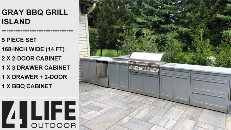14 ft outdoor kitchen cabinets BBQ cabinets drawer 2 door stainless cabinets