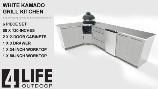 "White 6 PC Kamado Outdoor Kitchen: 2 Door Cabinet, 3 Drawer Cabinet, 34"" & 88"" Stainless Countertop 16"