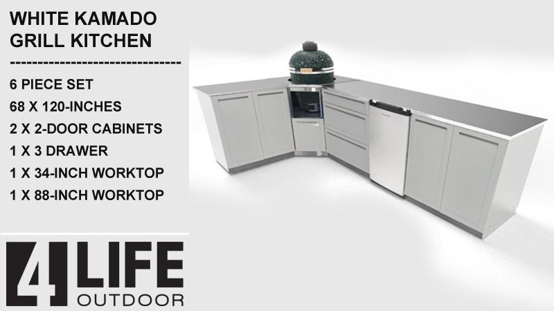 White 3 PC Kamado Outdoor Kitchen: 2 Door Cabinet, 3 Drawer, Kamado Cabinet 10