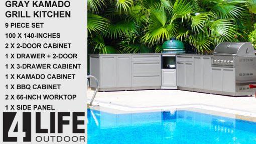 """Gray 9 PC Kamado Outdoor Kitchen: 2x2 Door Cabinet, 3 Drawer Cabinet, Drawer+2-door, Kamado, 2xpanels, 2x66"""" Stainless Countertop 17"""