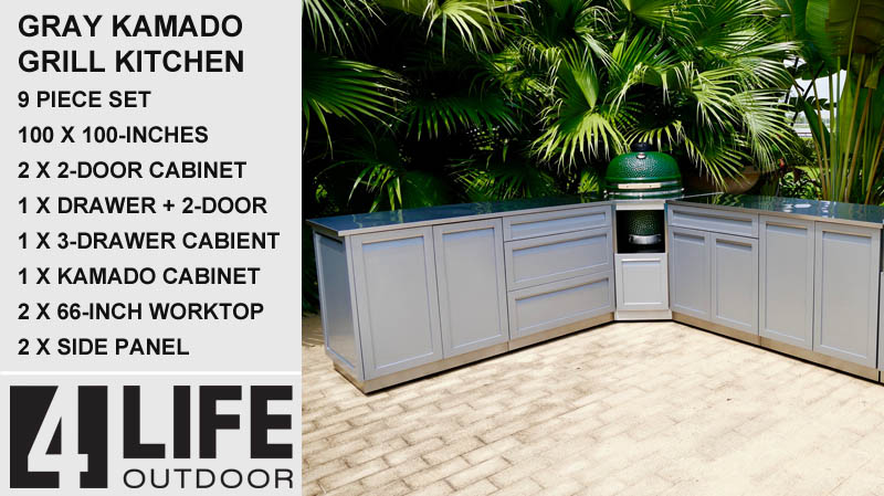 White 5 PC Dual Grill Outdoor Kitchen: BBQ Cabinet, Kamado Corner Cabinet, 3 Drawer Cabinet, Drawer + 2-door Cabinet, Side Panel 34