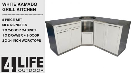 "White 5 PC: 2 Door Cabinet, Drawer + 2-door, Kamado Cabinet, 2x34""Stainless Countertops 5"