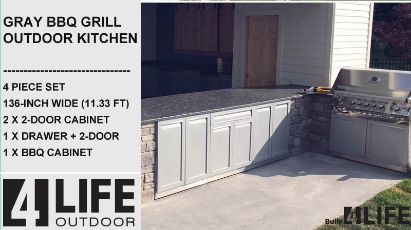 "Gray 5 PC: BBQ Grill Cabinet, 2 x 2-Door Cabinet, 3 Drawer Cabinet, 98"" Stainless Countertop 21"