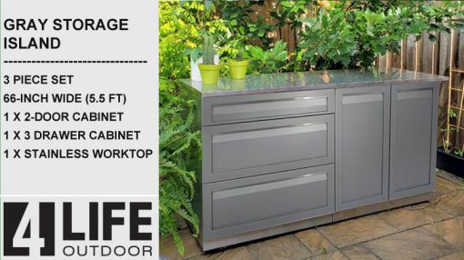 Gray 3 PC outdoor kitchen 3 drawers 2 door stainless cabinets