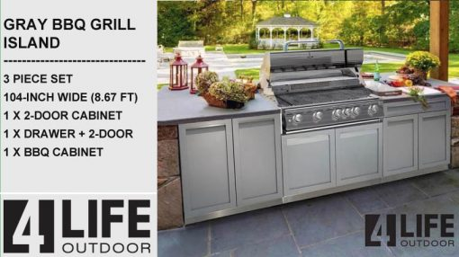 Gray 3 PC Outdoor kitchen Cabinets