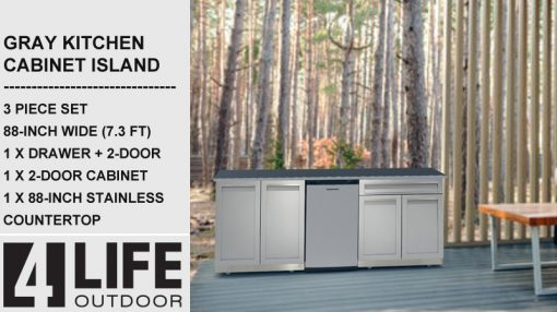 88 inch outdoor kitchen cabinets with 88-inch stainless countertop