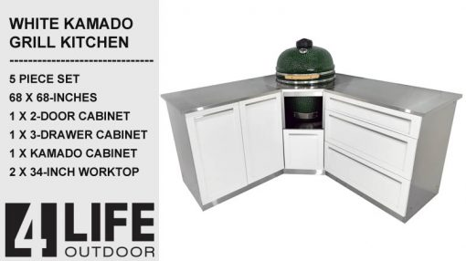 "White 5 PC: 2 Door Cabinet, 3 Drawer, Kamado Cabinet, 2x34""Stainless Countertops 4"