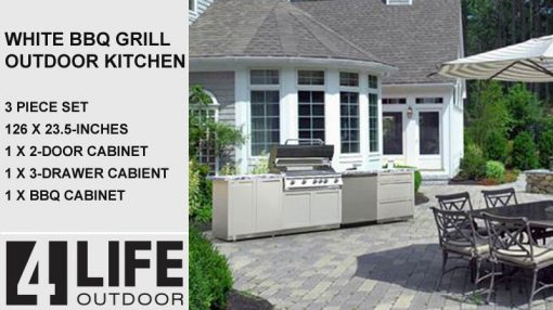 White Outdoor Kitchen cabinets stainless steel, BBQ cabinet, 3 drawer cabinet, 2 door cabinet