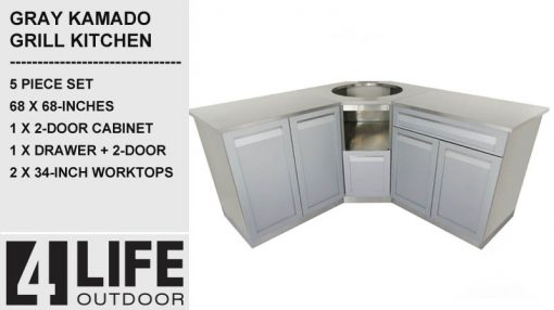 "Gray 5 PC: 2 Door Cabinet, Drawer + 2-door, Kamado Cabinet, 2x34""Stainless Countertops 6"