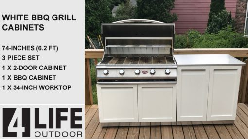 White 3 PC Outdoor Kitchen Set: BBQ Grill Cabinet, 2-door Cabinet & Stainless Countertop 13
