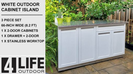 White 3 PC Outdoor Kitchen Cabinets with 66 stainless countertop