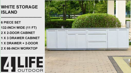 6 PC White 132W x 24D x 35H Outdoor Cabinet Island