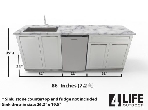 outdoor sink fridge and white outdoor cabinets