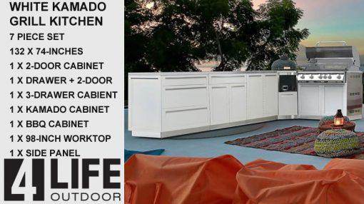 "White 7 PC: 2 Door Cabinet, 3 Drawer Cabinet, Drawer+2-door, 98"" Stainless Countertop 18"