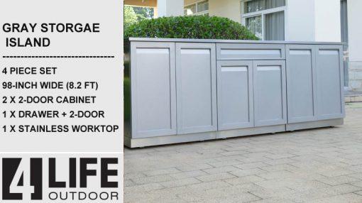 Gray Outdoor Kitchen Island 4 doors drawer with 2 door cabinet 98 stainless steel countertop
