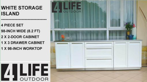 "White 4 PC: 2 x 2 Door Cabinet, 3 Drawer Cabinet, 98"" Stainless Countertop 11"