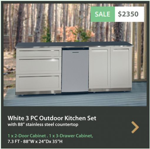 4 Life Outdoor Product Image 5 PC White Outdoor kitchen 1x2-Door 1x3-drawer 88Inch Stainless Countertop
