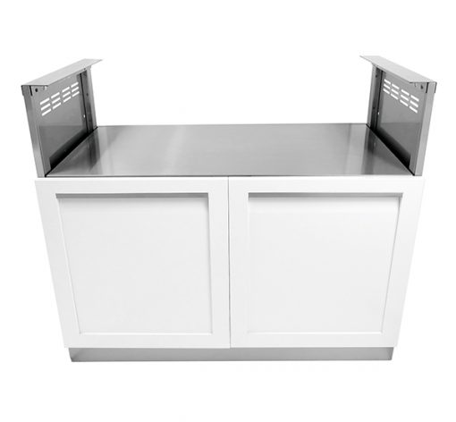 "White 4 PC: BBQ Grill Cabinet, 1 x 2-Door Cabinet, 1 x Drawer Plus 2-Door, 66"" Stainless Countertop 15"