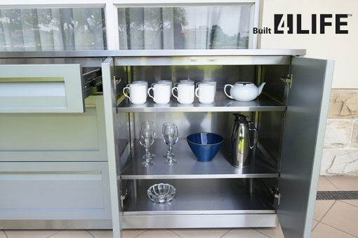 "Gray 5 PC Outdoor Kitchen: BBQ Grill Cabinet, 2 x 2-Door Cabinet, 2 x 34"" Stainless Countertops 9"